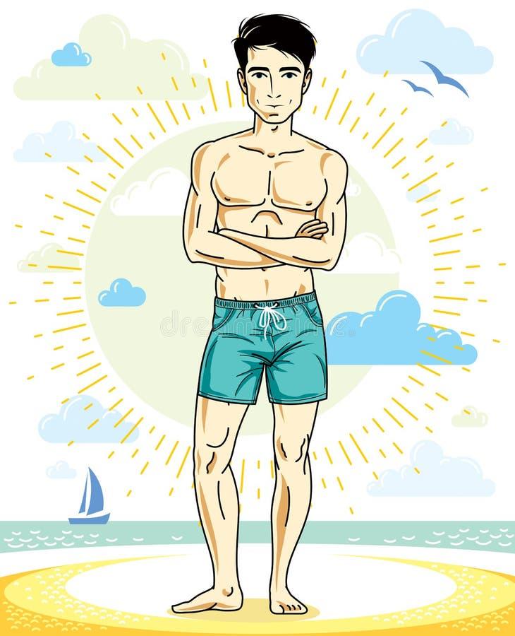 Erwachsene Stellung des gutaussehenden Mannes auf tropischem Strand in den hellen kurzen Hosen lizenzfreie abbildung