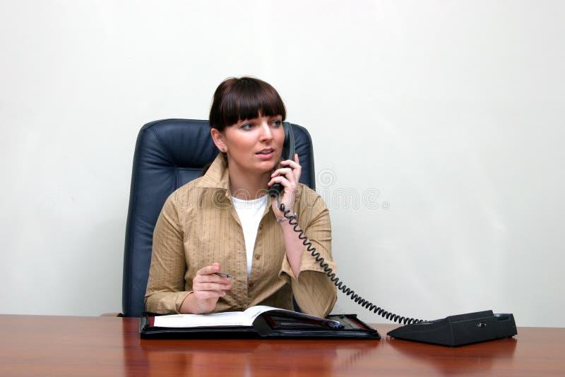 Erwachsene weiße Frau hinter einem Schreibtisch in einem Büro ein sprechend lizenzfreie stockfotos