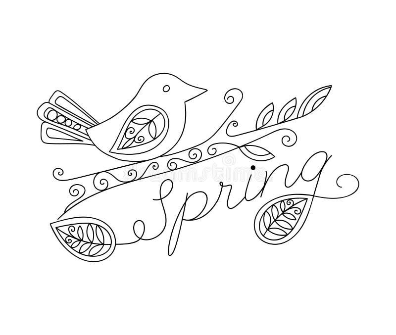 Erwachsener färbender lustiger Vogel und Frühlingsaufschrift stock abbildung