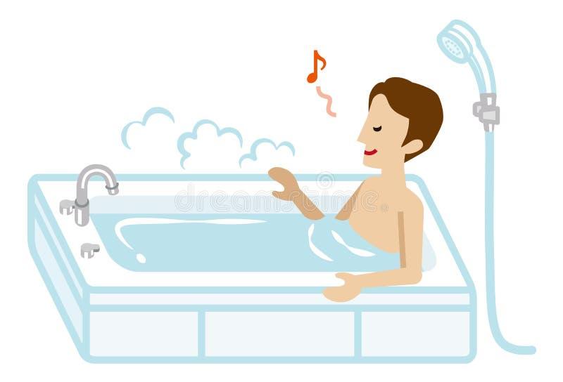 Erwachsener Mann, der ein Bad nimmt vektor abbildung