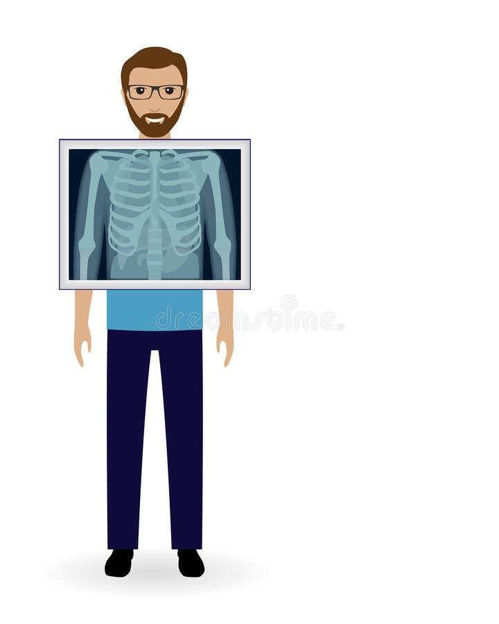 Erwachsener Mann mit Röntgenstrahlkastenvision Radiographiepatientenfahne Modell der ärztlichen Untersuchung stock abbildung