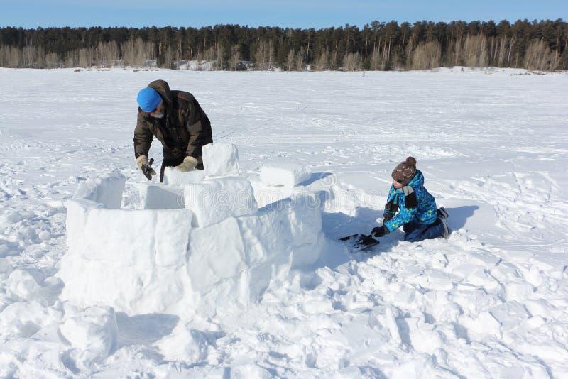 Erwachsener Mann und kleiner Junge, die einen Iglu auf einer schneebedeckten Lichtung, Nowosibirsk, Russland errichtet lizenzfreies stockfoto