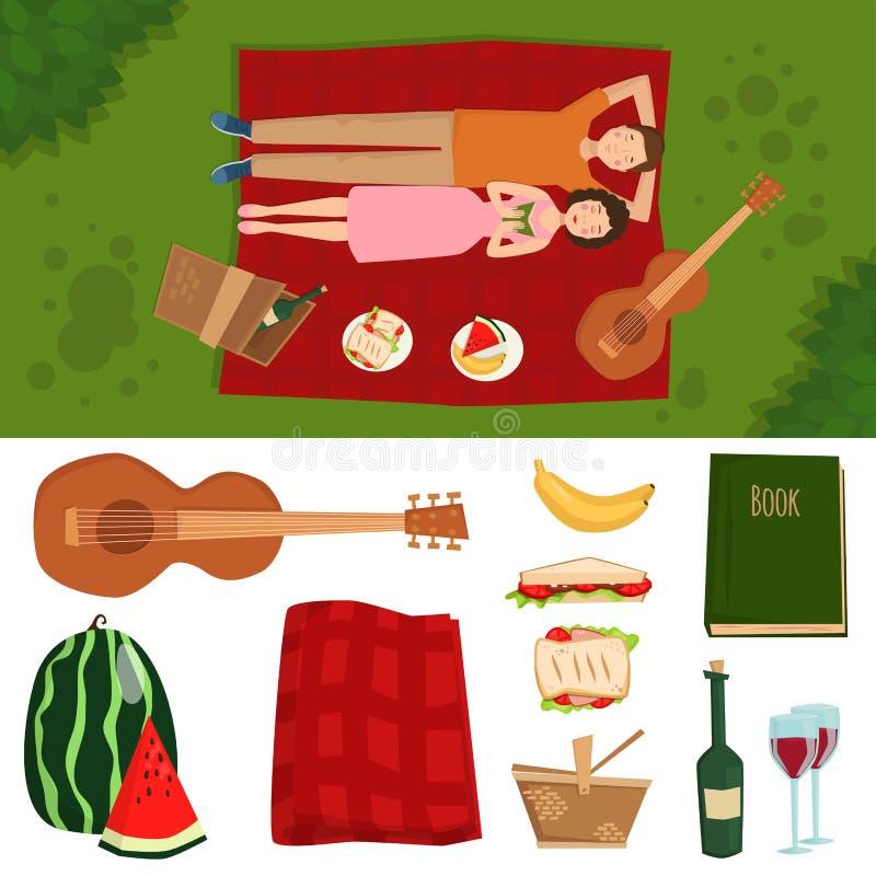 Erwachsener Paarmann und -frau auf Sommerpicknick grillen romantische Sommerpicknicklebensmittel-Vektorillustration im Freien vektor abbildung