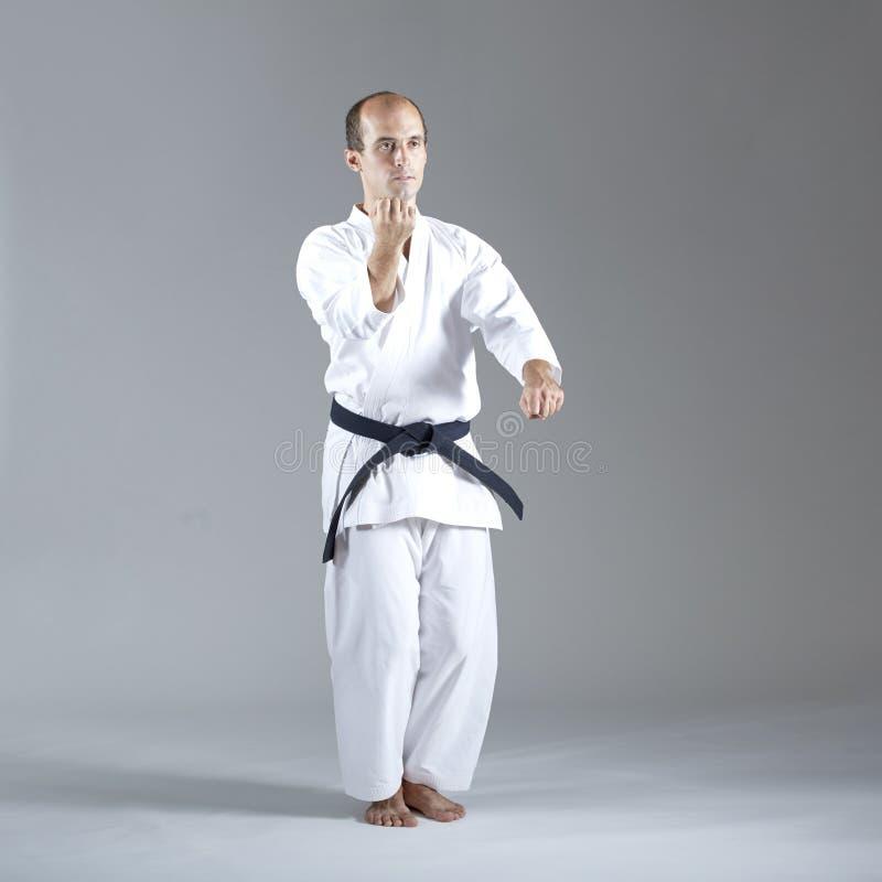 Erwachsener Sportler führt formale Übungen von Karate durch lizenzfreie stockfotos