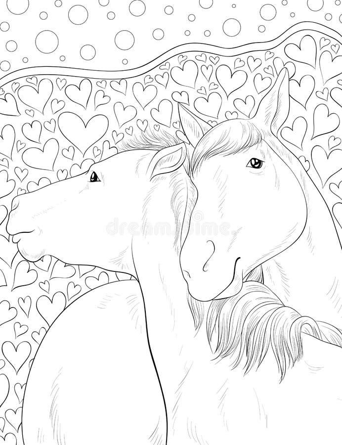 Erwachsenes Malbuch, paginieren ein Paar des Pferdebildes für die Entspannung Zenkunst-Artillustration stock abbildung