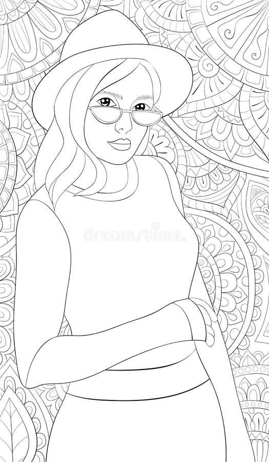 Erwachsenes Malbuch, Seite ein nettes Mädchen, das einen Hut und Sonnenbrille auf dem abstrakten Hintergrund mit Verzierungsbild  vektor abbildung