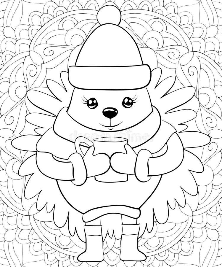 Erwachsenes Malbuch, Seite ein nettes Weihnachtsigelbild für Entspannungstätigkeit Zenkunst-Artillustration für Druck stock abbildung