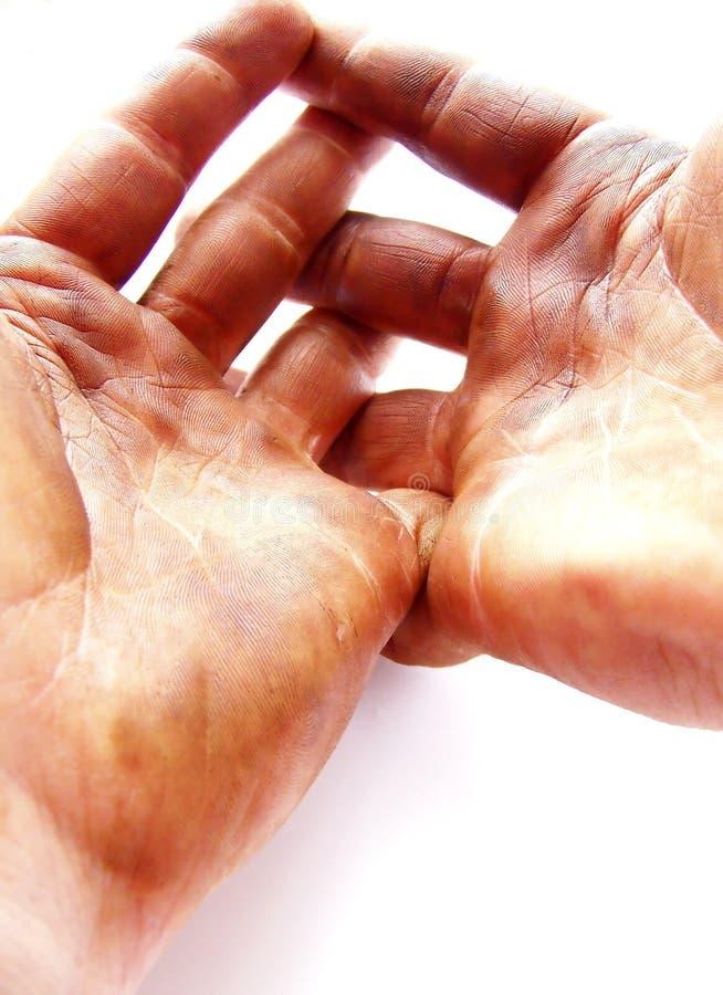 Erwartungsvolle fleißige Hände, vertikal stockfotos