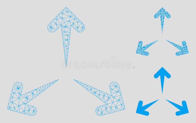 Erweitern Sie Pfeil-Vektor Mesh Carcass Model und Dreieck-Mosaik-Ikone lizenzfreie abbildung