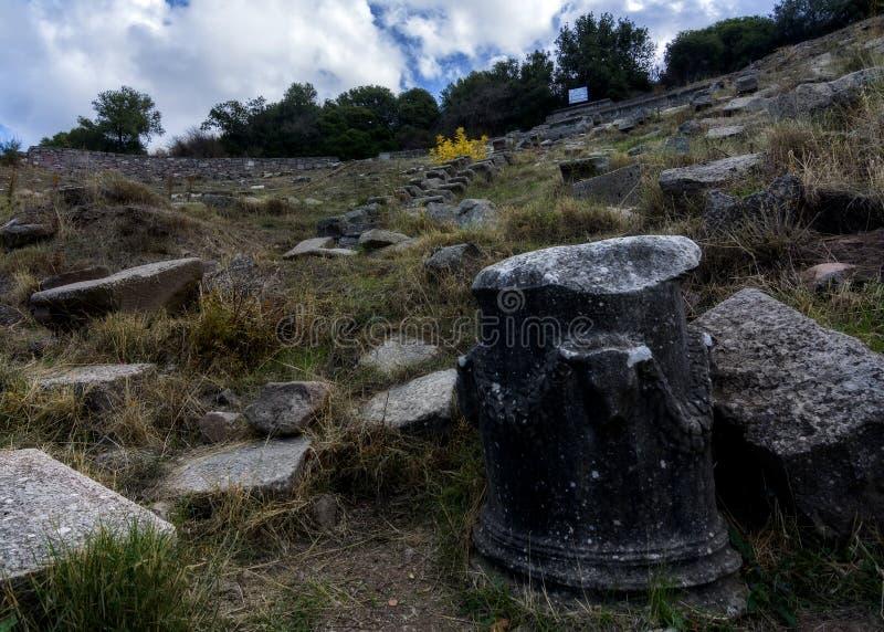 Erythrai古城的一个多云看法,在Cesme附近 库存照片