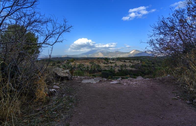 Erythrai古城的一个多云看法,在Cesme附近 免版税库存照片