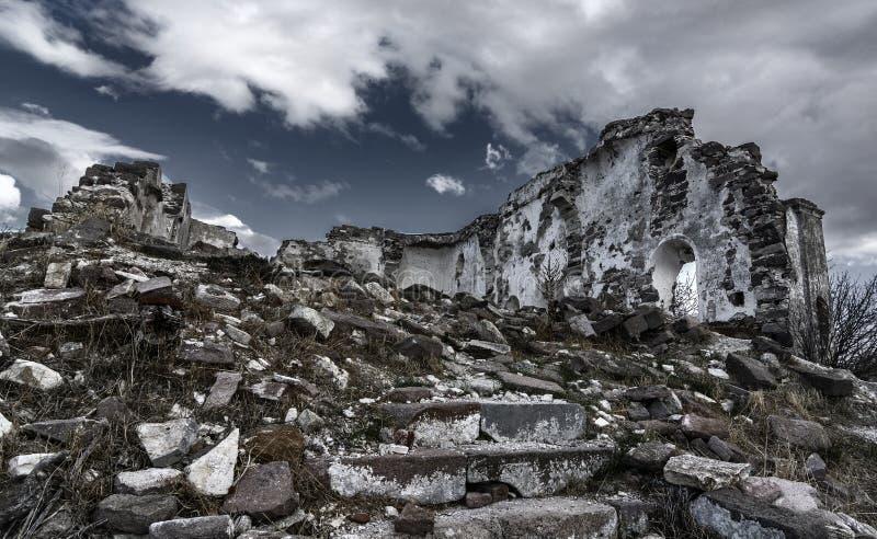 Erythrai古城的一个多云看法,在Cesme附近 图库摄影