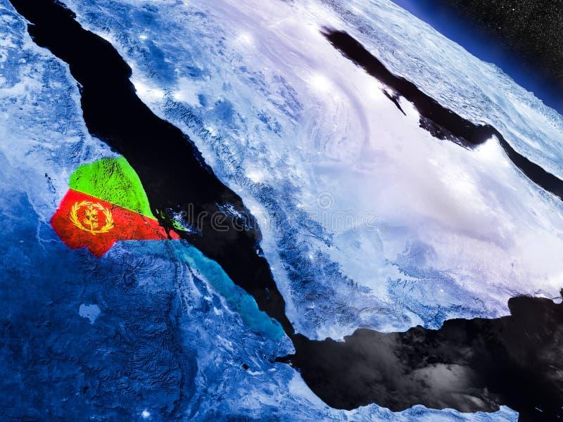 Erytrea z wbitą flaga od przestrzeni royalty ilustracja