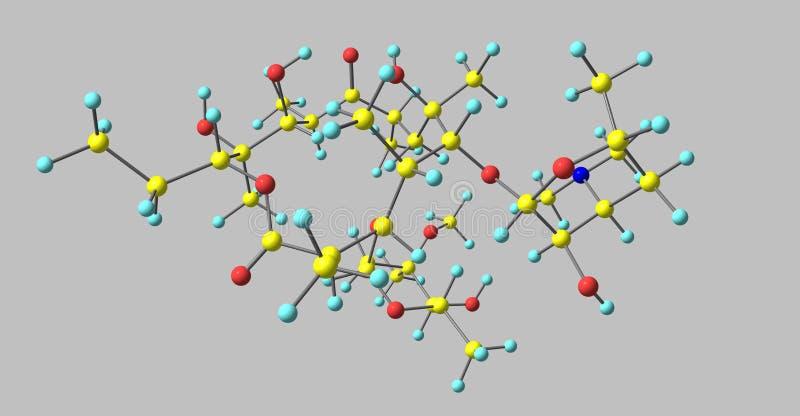 Erytromycyny cząsteczkowa struktura odizolowywająca na popielatym royalty ilustracja