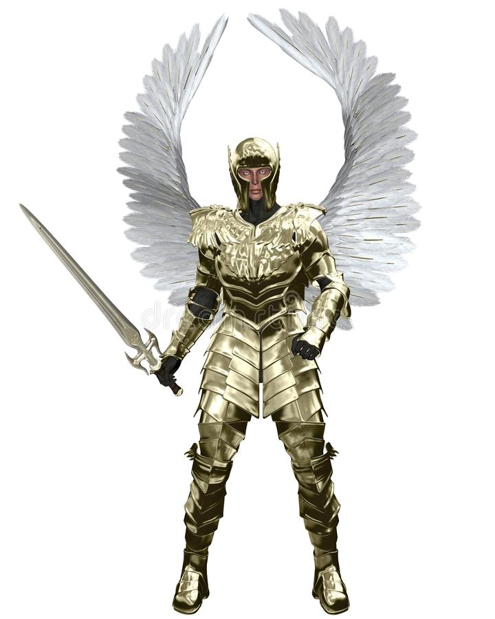 Erzengel Michael in der goldenen Rüstung stock abbildung
