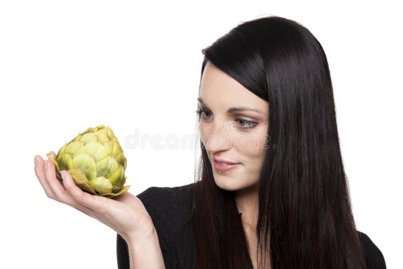 Erzeugnis - Gemüsefrau mit Artischocke lizenzfreies stockbild