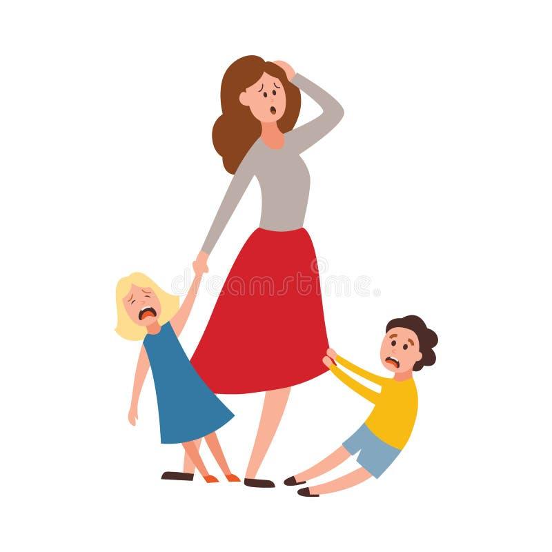 Erziehnungsmüde Eltern der großen Familie des problems des Vektors vektor abbildung