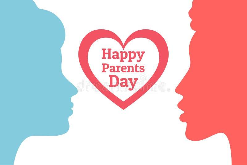 Erzieht Tag Glückliches gleichgeschlechtliches homosexuelles Familienkonzept Festlicher Hintergrund mit weiblichen Schattenbilder stock abbildung
