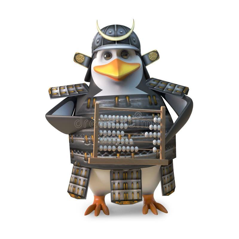 Erzogener japanischer Pinguinsamuraikrieger, der auf einem Abakus, Illustration 3d zählt vektor abbildung