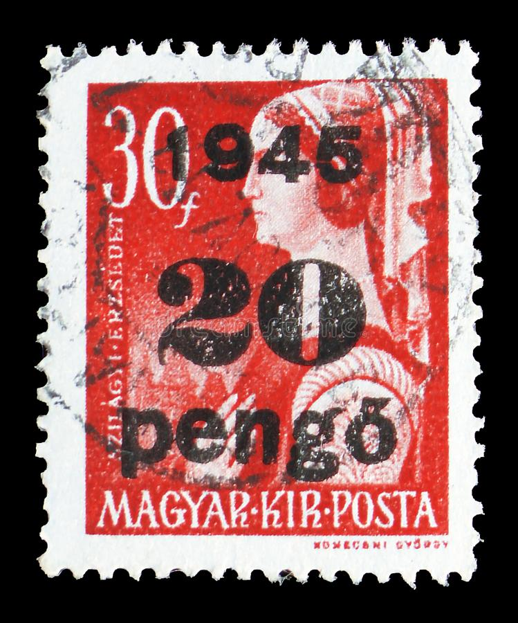 Erzsebet Szilagyi, Surcharged serie, circa 1945. MOSCOW, RUSSIA - JULY 19, 2019: Postage stamp printed in Hungary shows Erzsebet Szilagyi, Surcharged serie royalty free stock photos