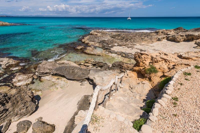 ES Calo口岸在Formentera海岛 库存照片