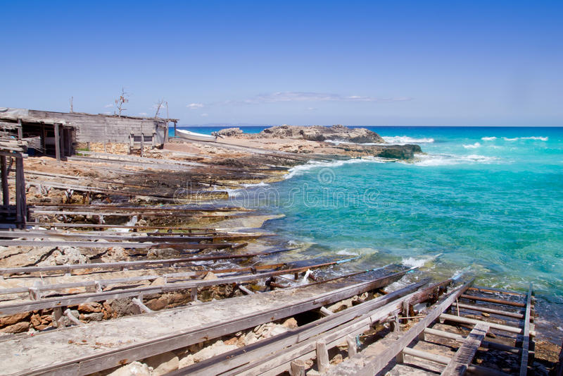 Es calo escalo Formentera north dock wooden rails stock image