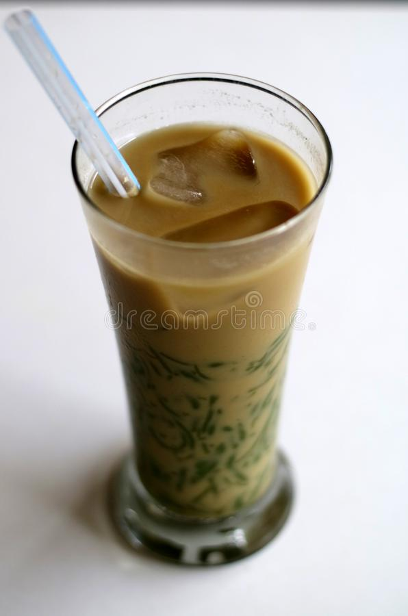 Es Cendol. Java traditional drink. Cendol is an iced sweet popular dessert that contains droplets of worm-like green rice flour jelly, coconut milk and palm stock images