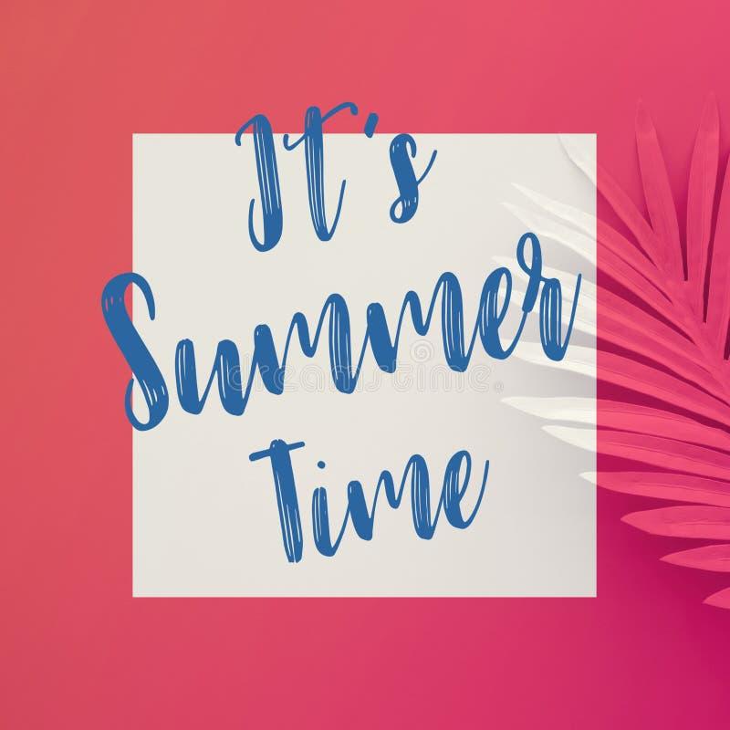 Es conceptos del tiempo de verano con el texto en las hojas tropicales en colores pastel en fondo del color imagenes de archivo