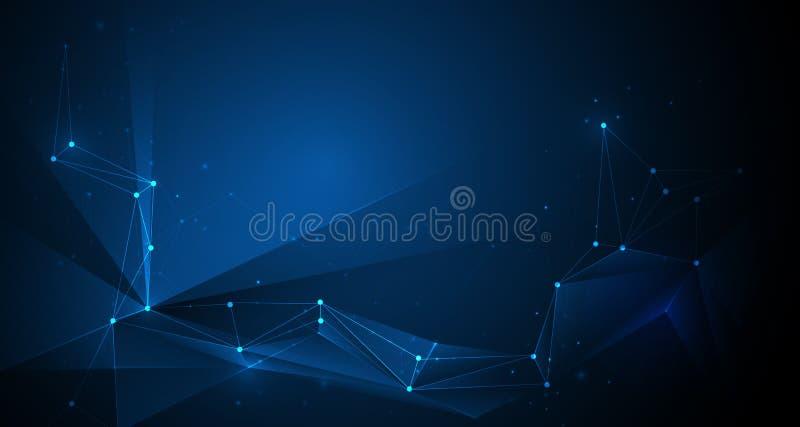 Es, Geometryczny, wielobok, trójboka wzór Wektorowa projekt sieci technologia komunikacyjna na zmroku - błękitny tło ilustracja wektor