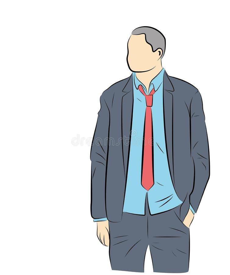 Es gibt einen Mann in einem Anzug Auch im corel abgehobenen Betrag lizenzfreie abbildung