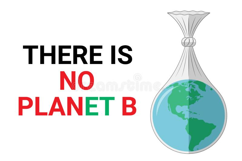 Es gibt keinen Planeten b - ökologisches Konzept Planetenerde in einer Plastiktasche lizenzfreie stockfotografie