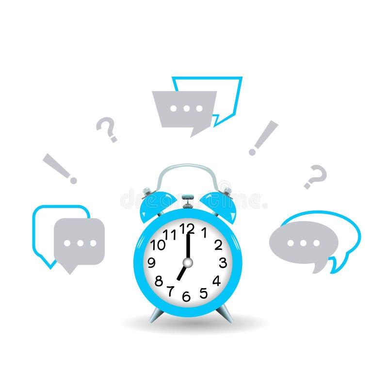 Es hora de hacer preguntas y de conseguir respuestas Despertador azul stock de ilustración