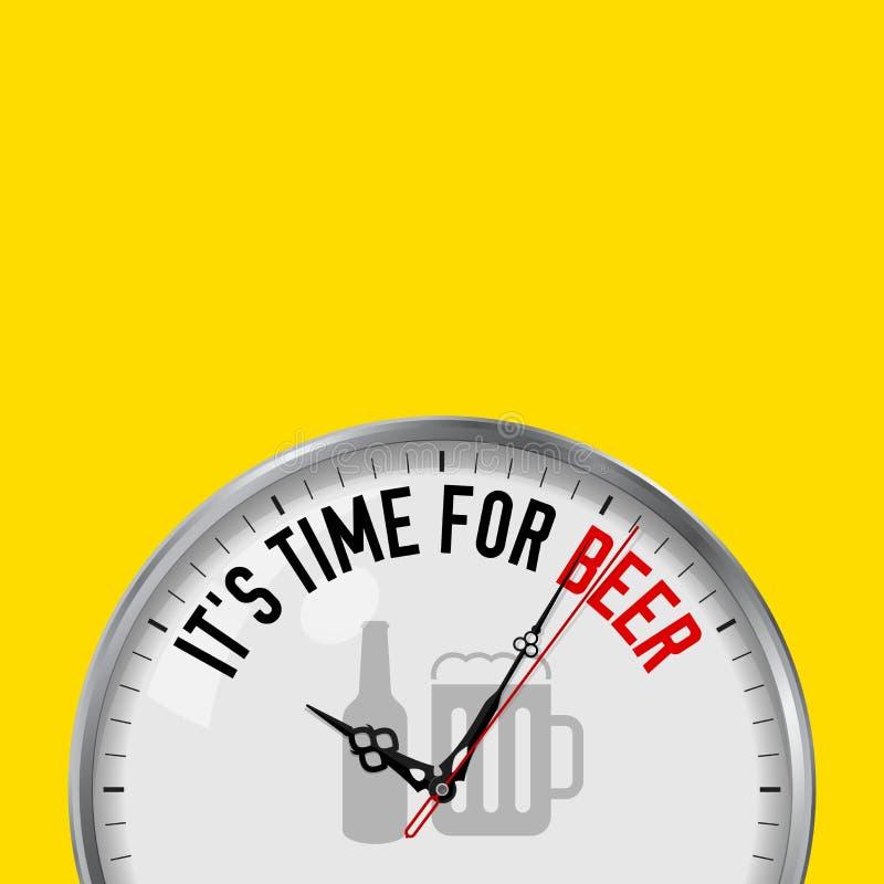 Es hora para la cerveza Reloj blanco del vector con lema de motivación Reloj análogo del metal con el vidrio Icono de la botella  libre illustration