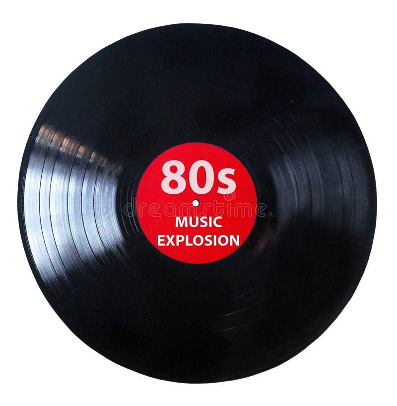 Es hora para los a?os 80 - vintage de la m?sica del juego del disco de vinilo - disco de negro vinilo aislado en el fondo blanco fotografía de archivo libre de regalías