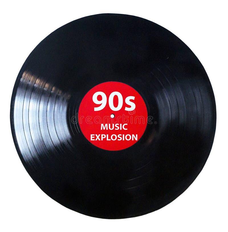 Es hora para los a?os 90 - vintage de la m?sica del juego del disco de vinilo - disco de negro vinilo aislado en el fondo blanco imágenes de archivo libres de regalías