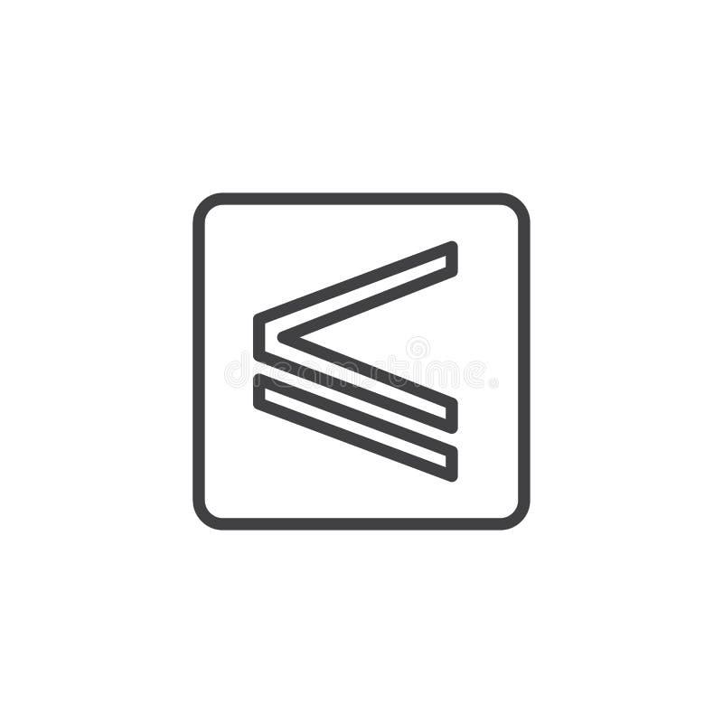 Es inferior o igual el icono del esquema ilustración del vector