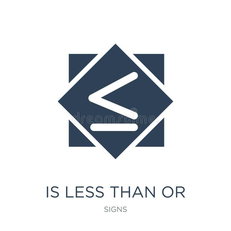 es inferior o igual el icono en estilo de moda del diseño es inferior o igual el icono aislado en el fondo blanco es menos que o stock de ilustración