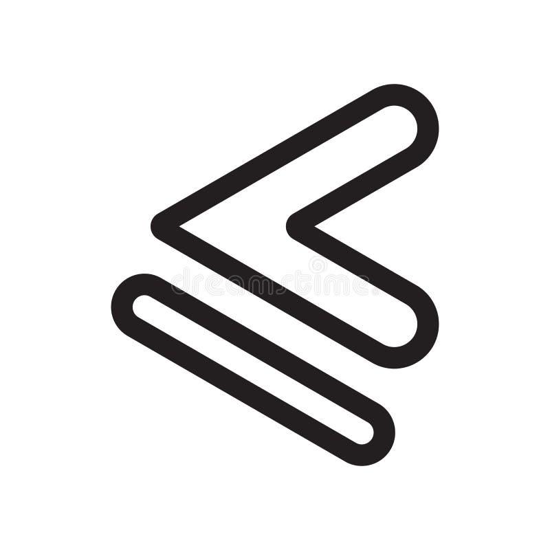 Es inferior o igual la muestra del vector del icono del símbolo y el símbolo aislado en el fondo blanco, es inferior o igual logo ilustración del vector