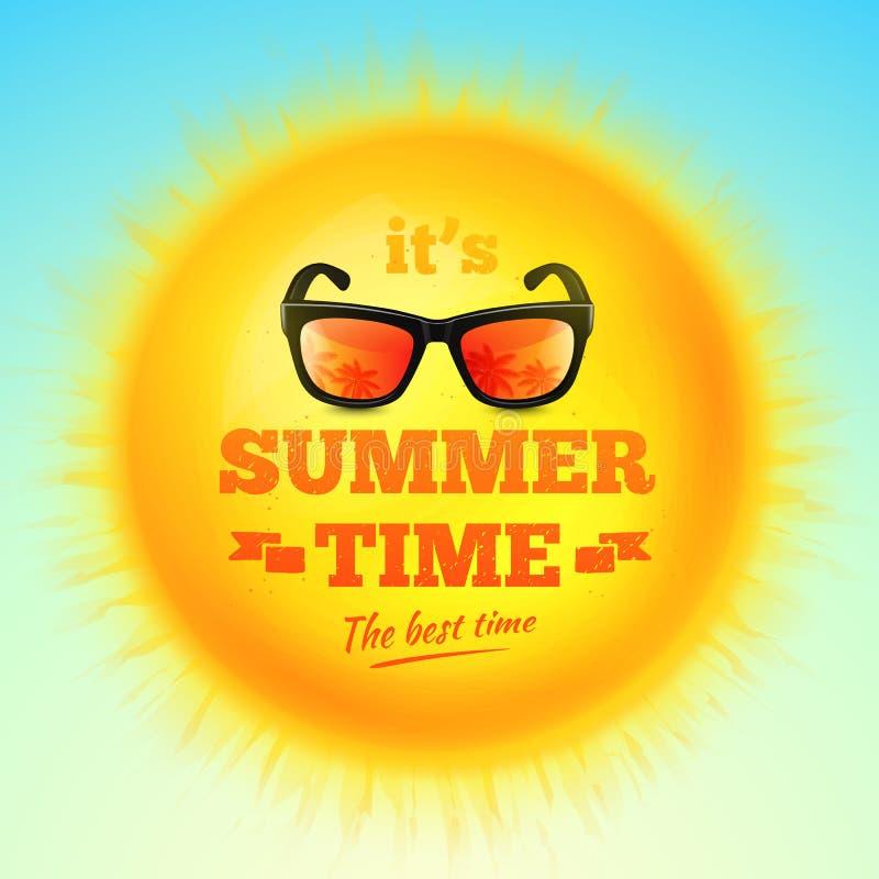 Es inscripción tipográfica del tiempo de verano con las gafas de sol en el sol realista 3D Ilustración del vector stock de ilustración