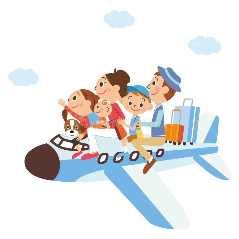 Es ist ein Familienurlaub, Flugzeug eingeschaltet lizenzfreie abbildung