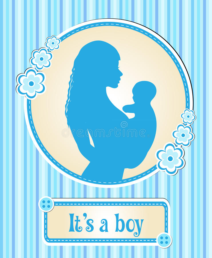 es ist ein junge karte mit einem neugeborenen baby das schattenbild einer mutter und kind. Black Bedroom Furniture Sets. Home Design Ideas