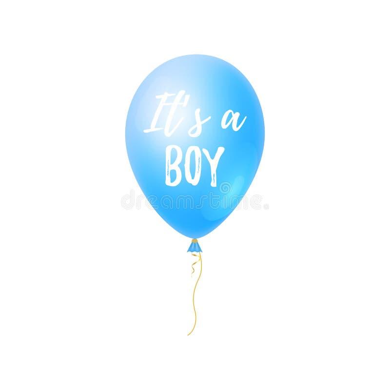 Es ist ein Junge mit Babypartykarte des Ballon-3d Nette Grußkarte, Partei Einladung stock abbildung