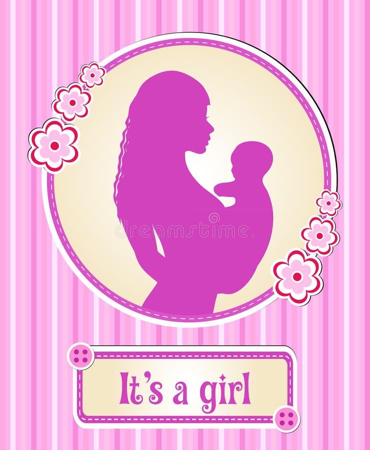 Es ist ein Mädchen Karte mit einem neugeborenen Baby, das Schattenbild einer Mutter und Kind, Glückwünsche auf der Geburt eines V lizenzfreie abbildung
