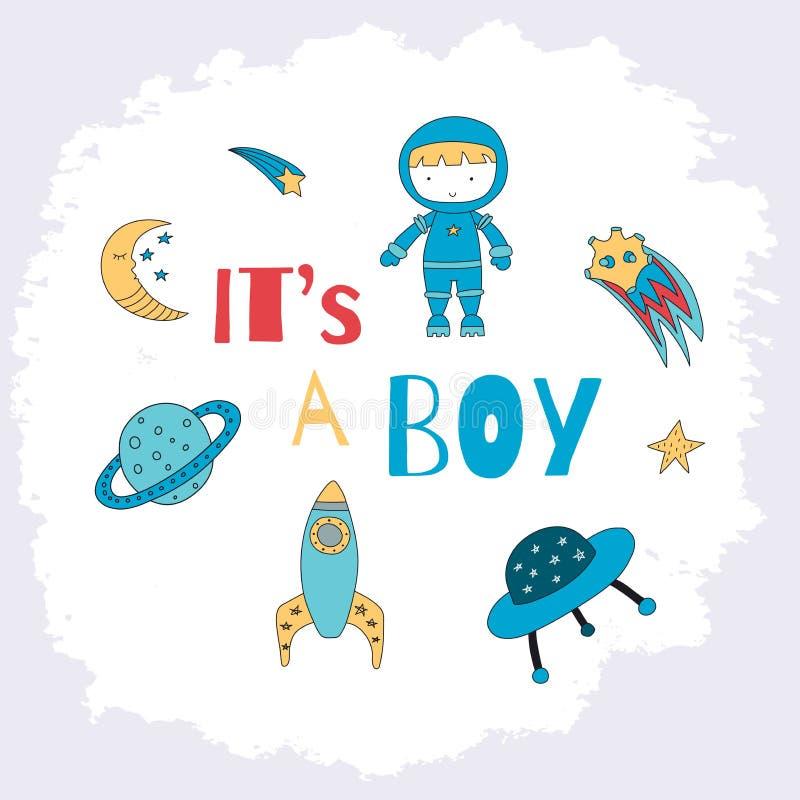 Es ist eine Jungenkarte für eine Babyparty mit einem kleinen Astronauten, Plan lizenzfreie abbildung