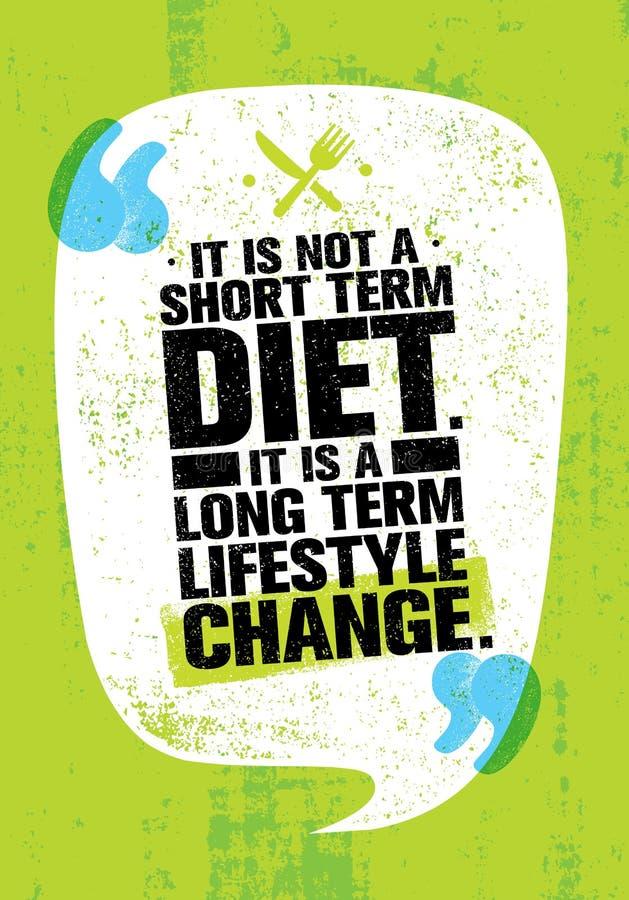 Es ist nicht kurze Zeit-Diät Es ist eine langfristige Lebensstil-Änderung Nahrungs-Motivations-Zitat vektor abbildung