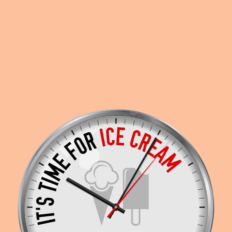 Es ist Zeit für Eiscreme Weiße Vektor-Uhr mit Motivslogan Analoge Metalluhr mit Glas Kegel, Eis am Stiel-Ikone vektor abbildung