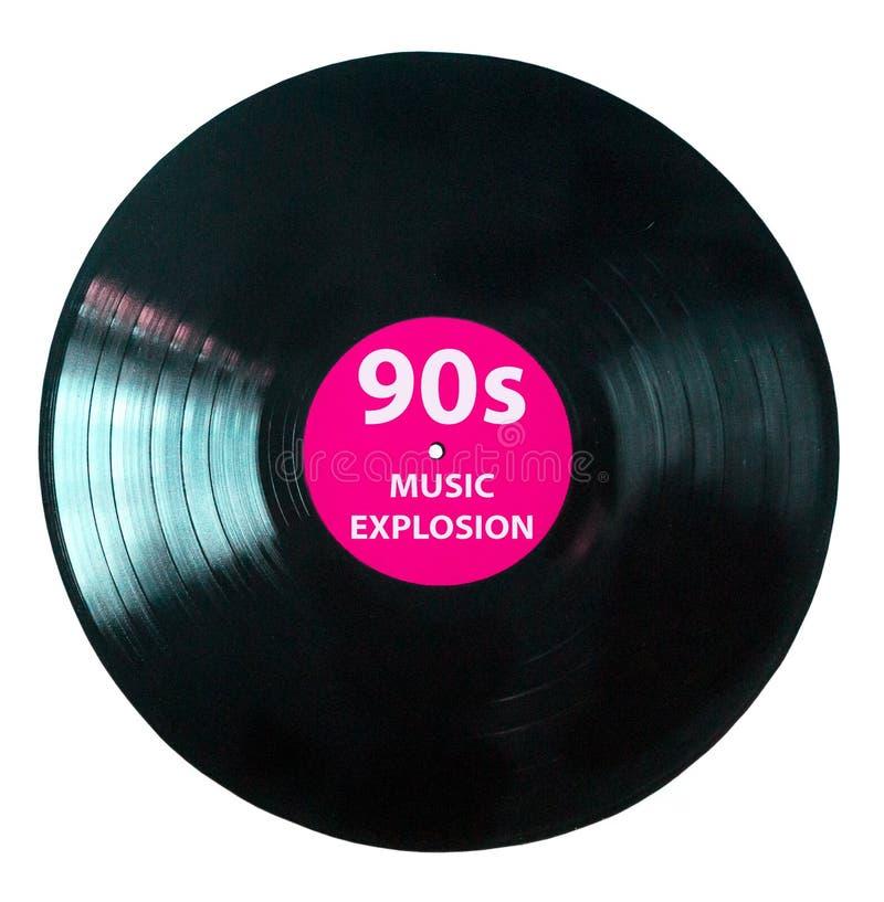 Es ist Zeit während der neunziger Jahre - Vinylaufzeichnungs-Spielmusikweinlese - die schwarze Vinylaufzeichnung, die auf weißem  lizenzfreie abbildung