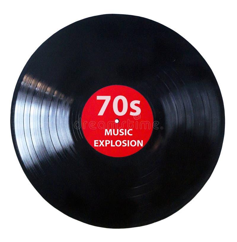 Es ist Zeit w?hrend der siebziger Jahre - Vinylaufzeichnungs-Spielmusikweinlese - die schwarze Vinylaufzeichnung, die auf wei?em  lizenzfreies stockfoto