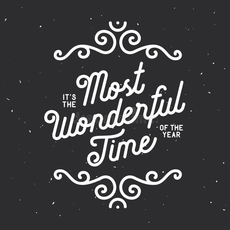 Es la época más maravillosa de las letras del año Ejemplo del vintage del vector libre illustration