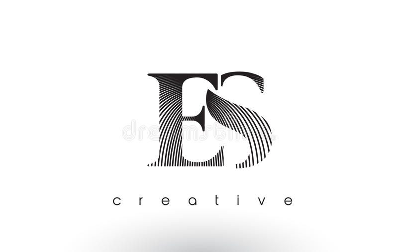 ES Logo Design With Multiple Lines e cores preto e branco ilustração stock